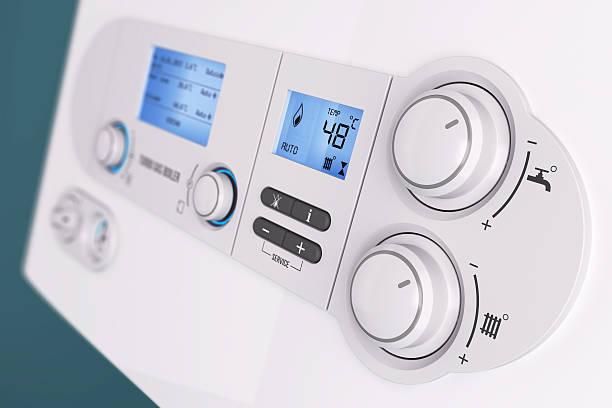 Smart control panel household gas boiler stock photo