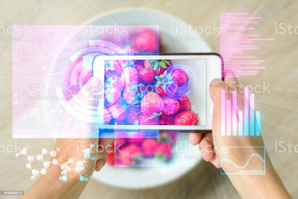 Smart Device Augmented Reality Food Checker stock photo