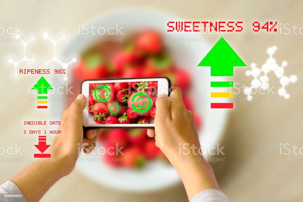Smart Device Augmented Reality Food Ripeness Checking stock photo