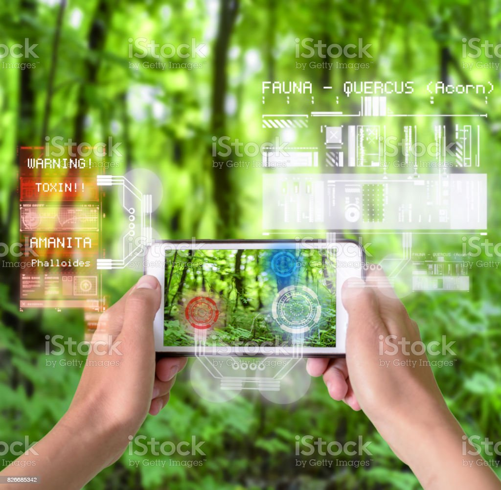 Smart Device Augmented Reality in Nature stock photo