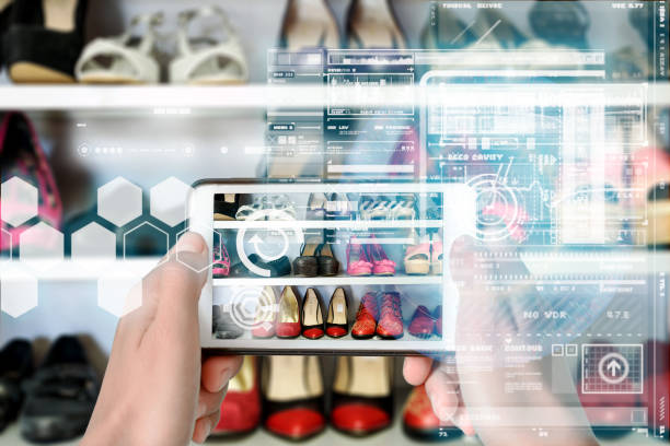 smart device augmented reality vr virtual overlay - realtà aumentata foto e immagini stock