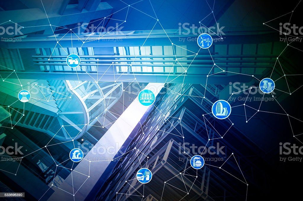 smart devices and mesh network, abstract image visual stock photo