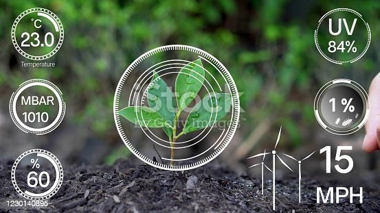 1128982514 istock photo Smart digital agriculture technology by futuristic sensor data collection 1230140895