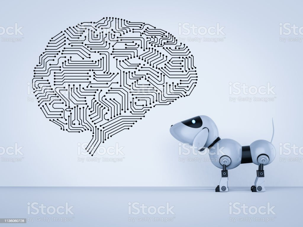 Smart dog robot stock photo