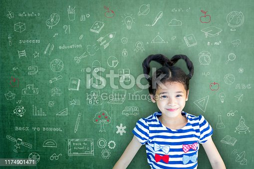 istock Smart educated school kid student with doodle on chalkboard  for children's world literacy day and scholarship concept 1174901471