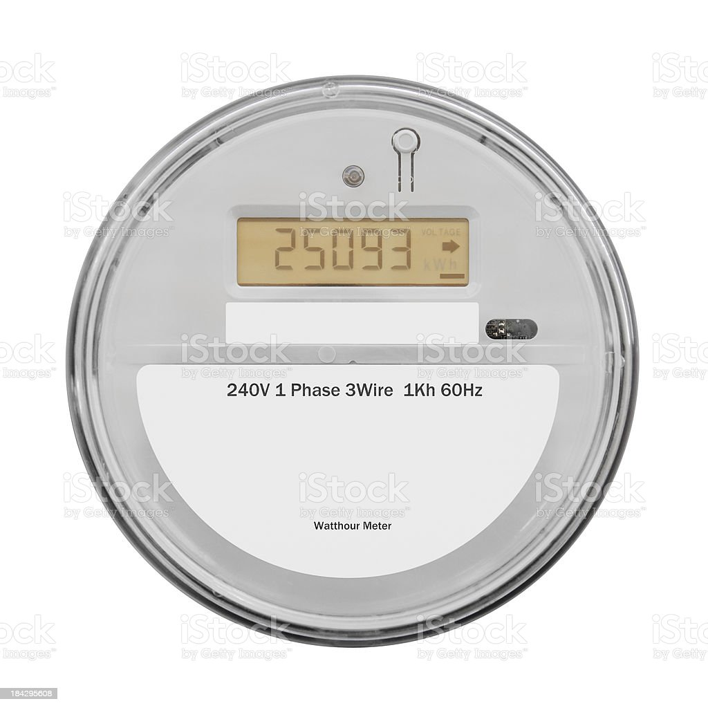 Smart Electricity Meter - Isolated on White royalty-free stock photo