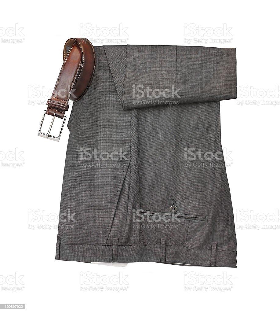 Smart elegant Men's dress pants trousers and belt stock photo