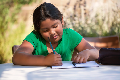 Smart elementary student using imagination to sketch ideas on notebook in an outdoor setting while the sun is setting.