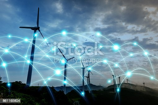 istock Smart energy and telecommunication network concept. abstract mixed media. 861165804