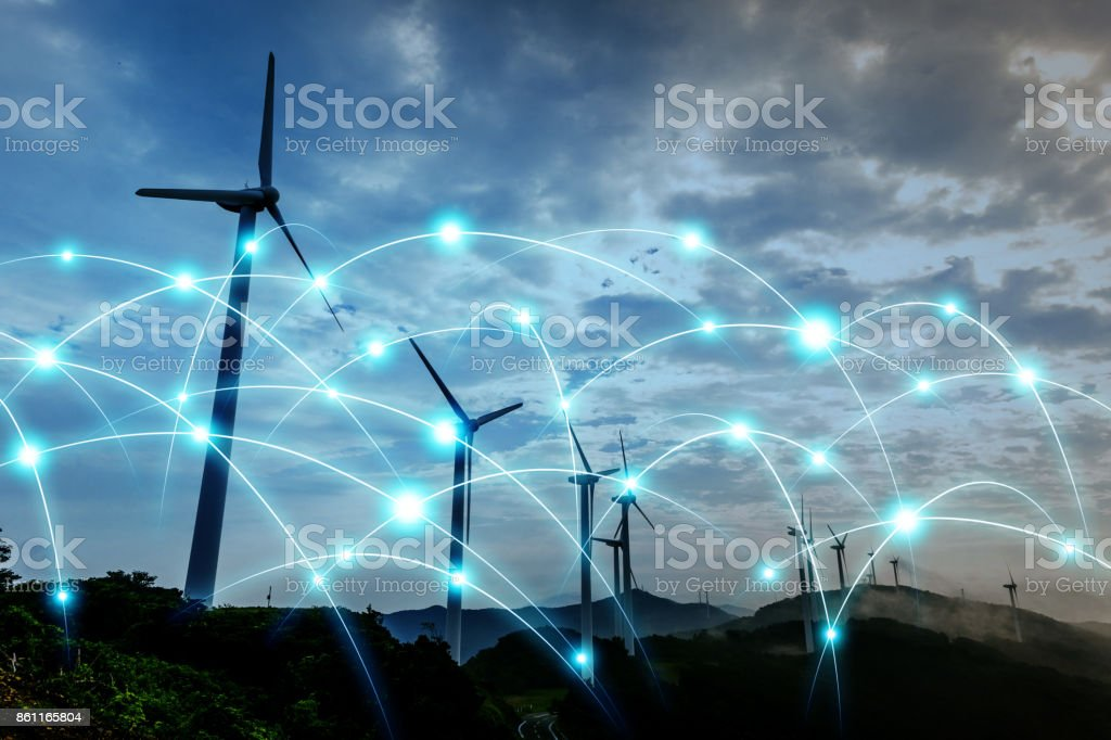 Smart energy and telecommunication network concept. abstract mixed media. stock photo