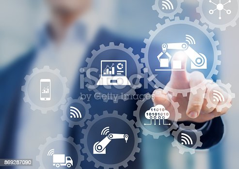 1150202727 istock photo Smart factory and industry 4.0, robots, IoT, cloud computing technology 869287090
