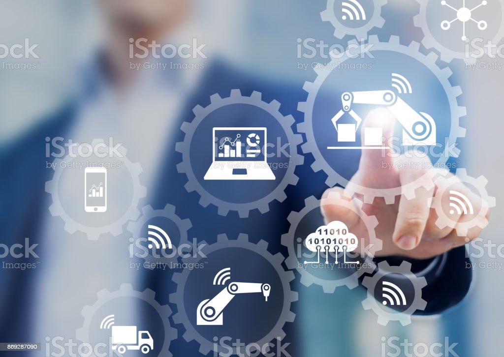 Smart factory and industry 4.0, robots, IoT, cloud computing technology stock photo