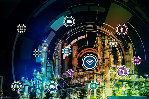 613881746 istock photo smart factory and Internet of Things. Sensor network. Factory Automation. conceptual mixed media. 864476896
