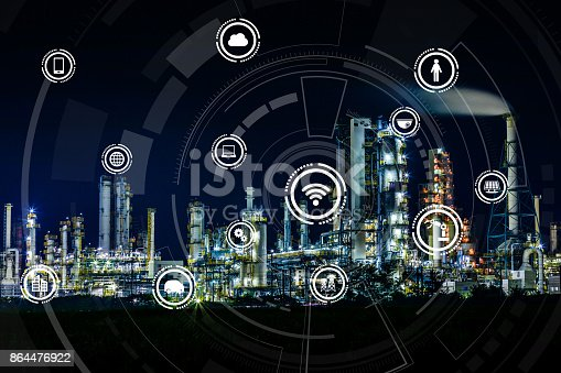 istock smart factory and Internet of Things. Sensor network. Factory Automation. conceptual mixed media. 864476922