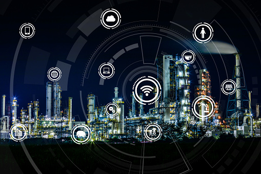 613881746 istock photo smart factory and Internet of Things. Sensor network. Factory Automation. conceptual mixed media. 864476922
