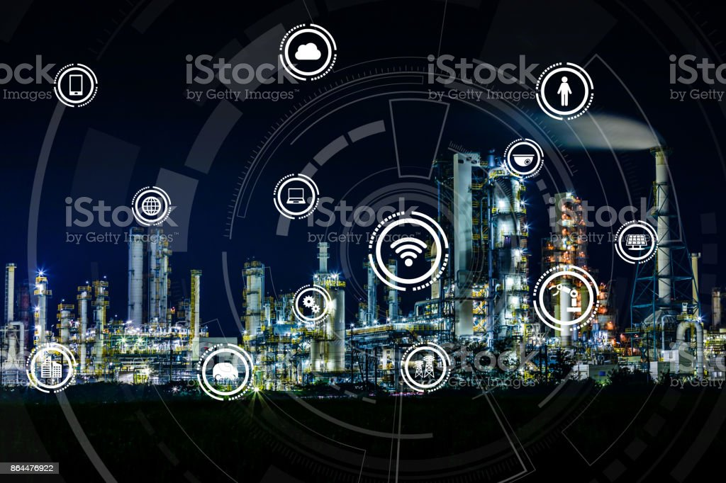 smart factory and Internet of Things. Sensor network. Factory Automation. conceptual mixed media. stock photo