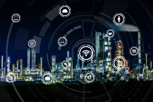 smart factory and internet of things. sensor network. factory automation. conceptual mixed media. - transportation icons stock photos and pictures