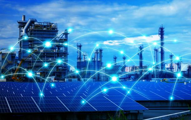 intelligente fabrik und telekommunikation-netzwerk-konzept. abstrakte mischtechnik. - solarstrom stock-fotos und bilder