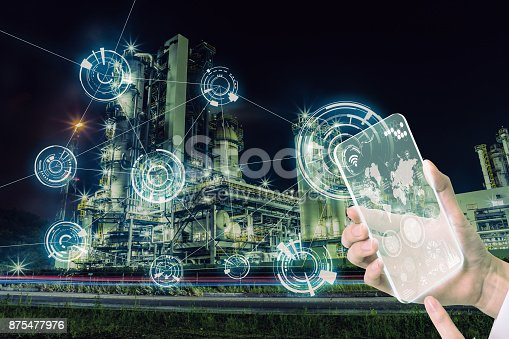 istock Smart factory and wireless communication network. Abstract mixed media. 875477976