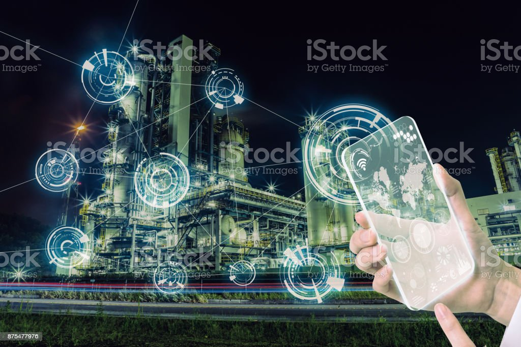 Smart factory and wireless communication network. Abstract mixed media. stock photo