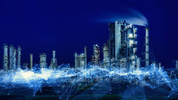 smart factory concept. communication network. industry4.0 - telecomando background foto e immagini stock