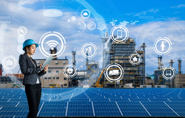 smart factory concept. internet of things. information communication technology. renewable energy. - ecosystem stock photos and pictures