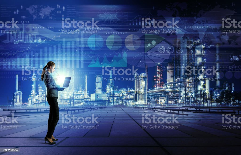 Smart factory concept. Internet of Things. Information Communication Technology. stock photo