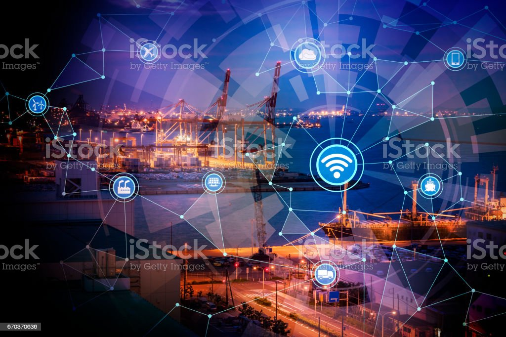 smart factory conceptual abstract, Internet of Things, Industry4.0 stock photo