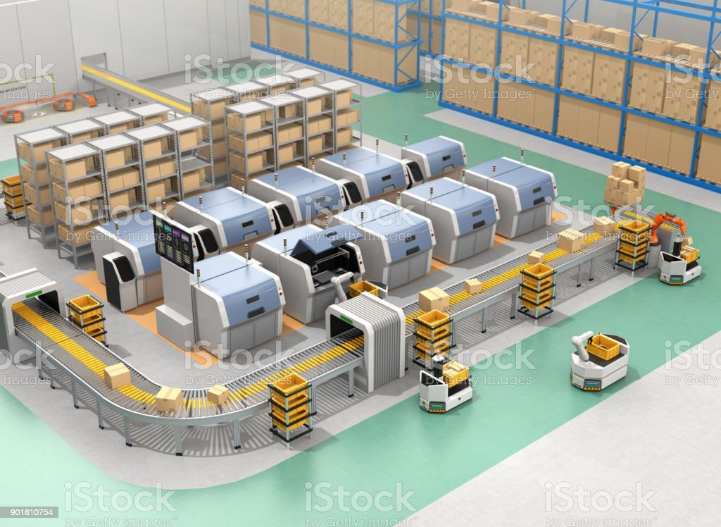 Smart factory equip with AGVs, 3D printers and robotic arm stock photo