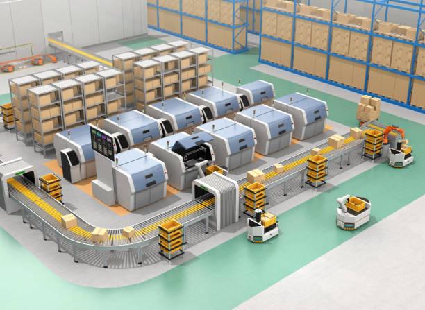 Intelligente Fabrik ausrüsten mit AGV, 3D-Druckern und Roboterarm – Foto