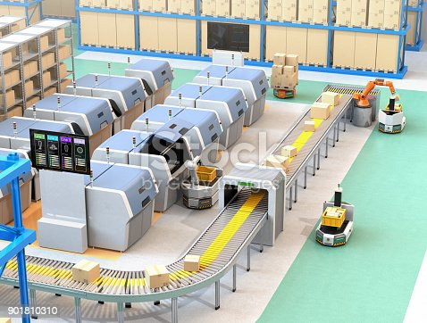 istock Smart factory equipped with AGV, robot carrier, 3D printers and robotic picking system 901810310