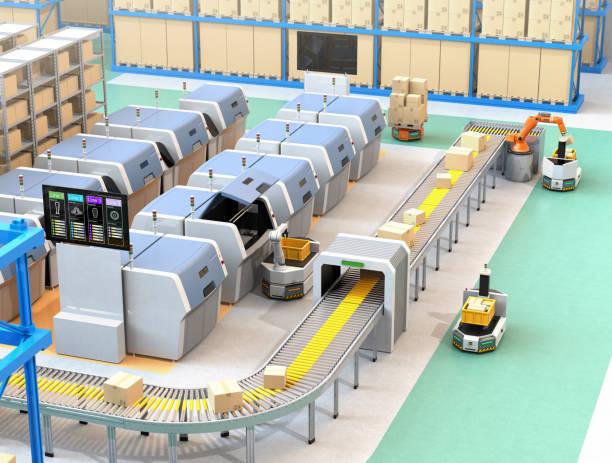 smart fabrik utrustad med agv, robot bärare, 3d-skrivare och robotliknande plockning system - delivery robot bildbanksfoton och bilder