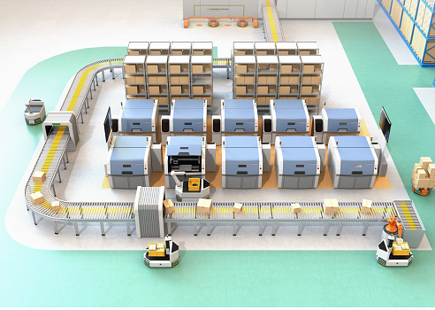 istock Smart factory equipped with AGV, robot carrier, 3D printers and robotic picking system 901810438