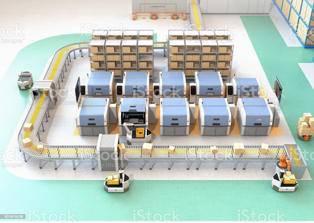 Smart factory equipped with AGV, robot carrier, 3D printers and robotic picking system stock photo