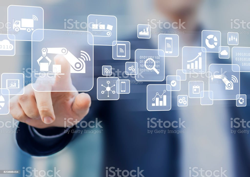 Smart factory or industry concept, IOT, cloud, automation, virtual interface stock photo