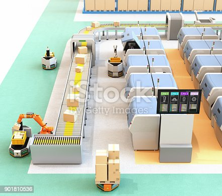istock Smart factory with AGV, robot carrier, 3D printers and robotic picking system 901810536