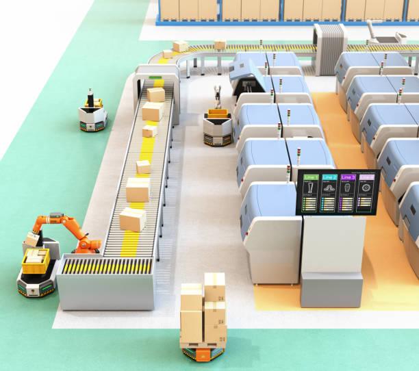 Intelligente Fabrik mit AGV, Roboter-Träger, 3D-Druckern und Roboter-Kommissioniersystem – Foto