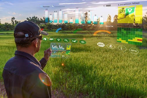 Smart farming with IoT, futuristic agriculture concept : Farmer wears VR or AR glasses while monitoring rainfall, temperature, humidity, soil pH with immersive experience on digital holographic screen