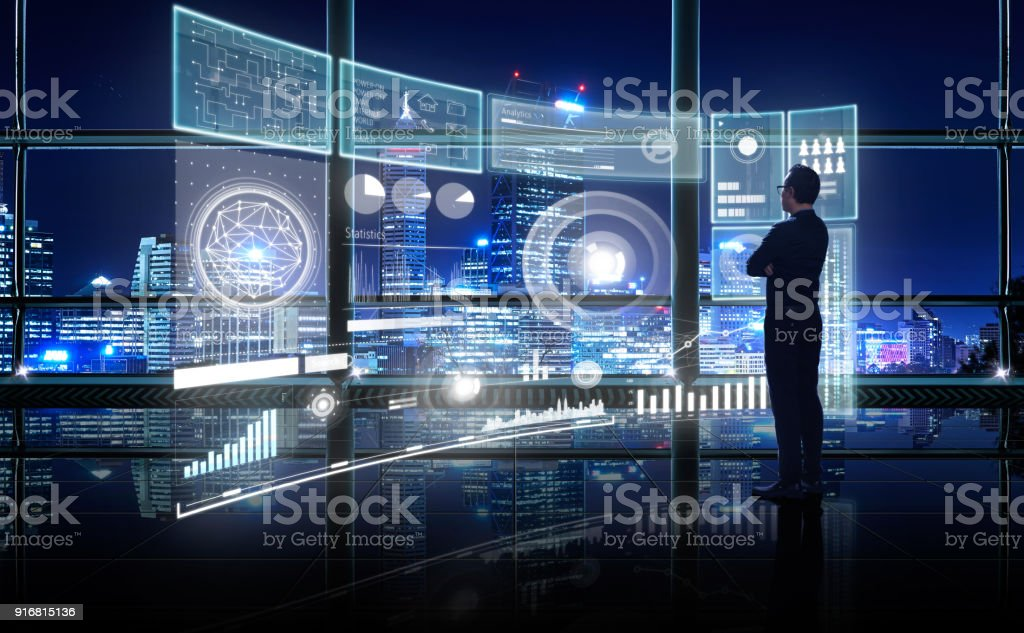 Smart financial analytics working at modern office with big data stock photo