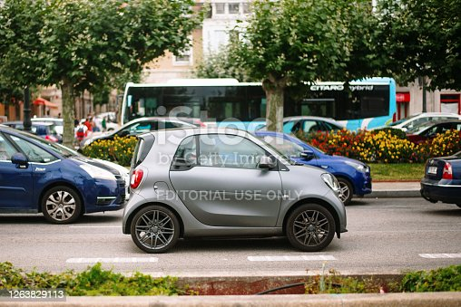 Santander, Spain. 22 July 2020: A modern Smart ForTwo compact car in a city street in Santander, Spain