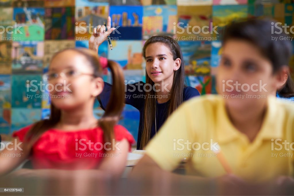 Smart Girl Raising Hand And Asking Question At School stock photo