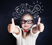 istock Smart girl with thumb up and lightbulb 1019220252