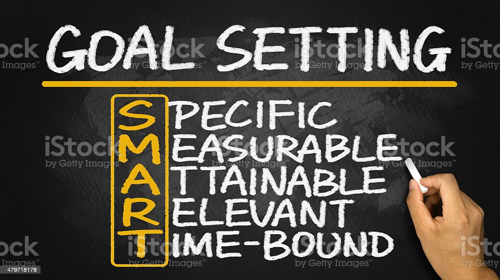 smart goal setting hand drawn on blackboard stock photo