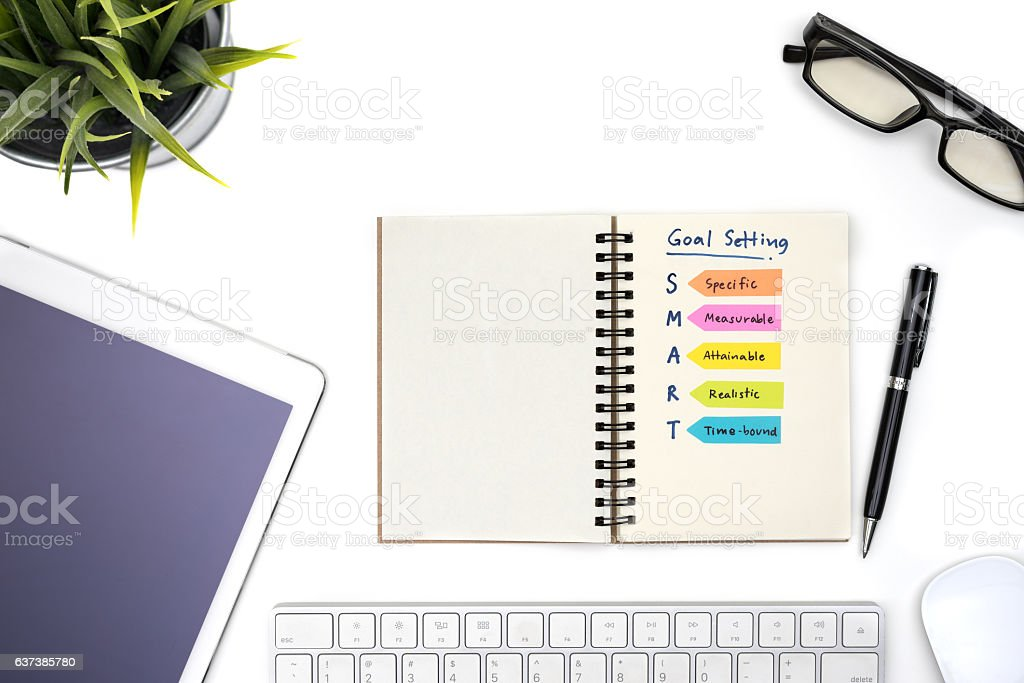 Smart goal setting with notebook stock photo