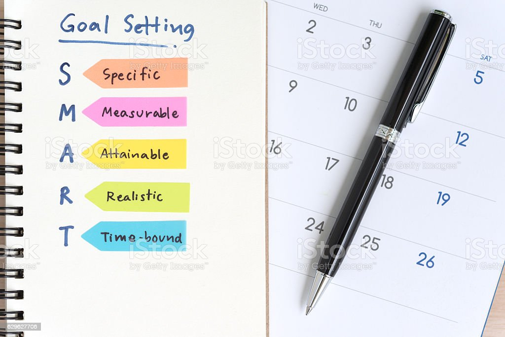 smart goals setting acronyms on the notebook with calendar stock photo