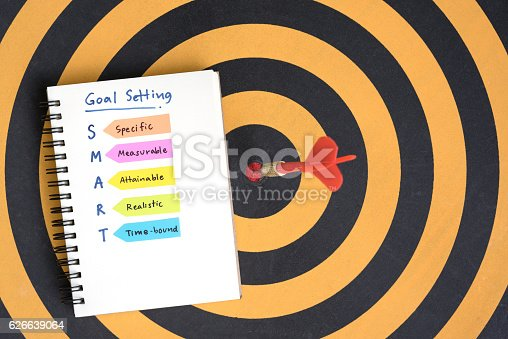 istock smart goals setting and hand written acronyms on the notebook 626639064