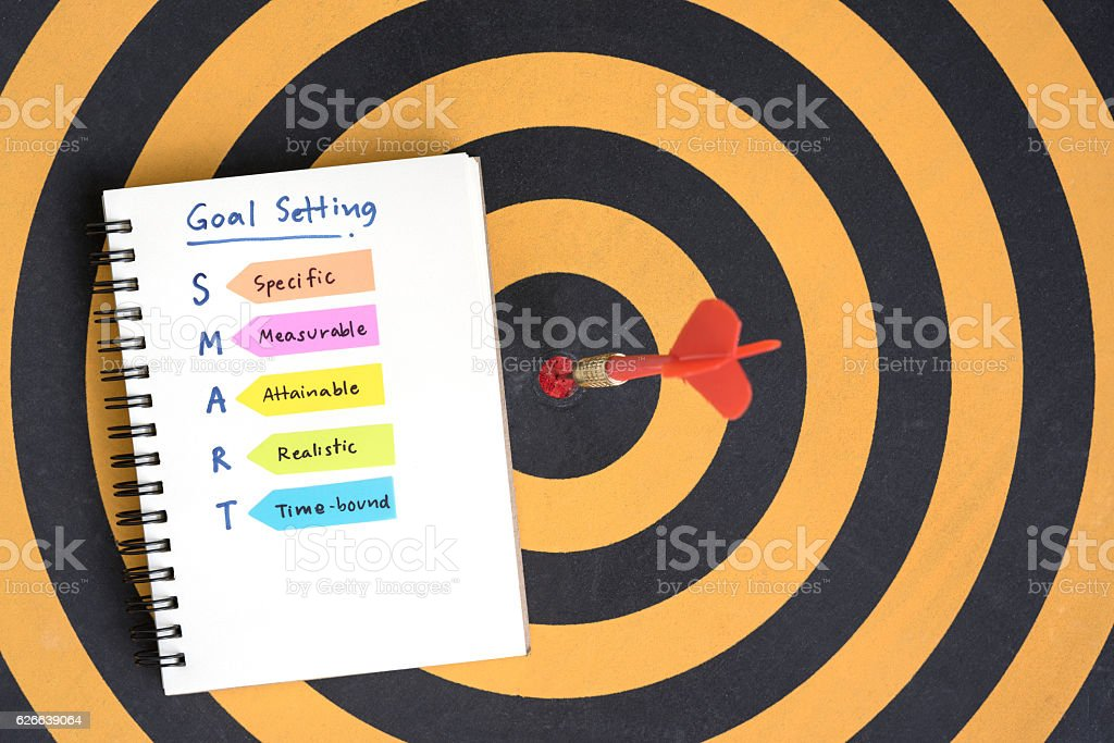 smart goals setting and hand written acronyms on the notebook stock photo