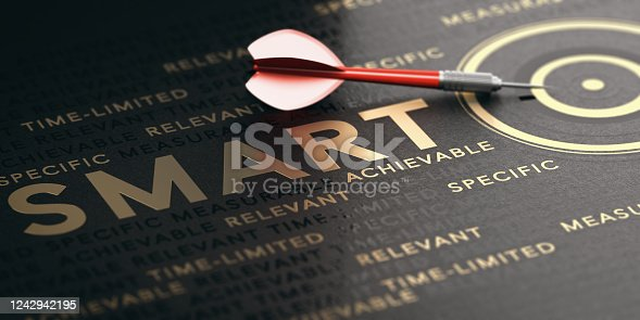 3D illustration of a red dart, golden target and words over black background. Concept of smart goals or objectives.