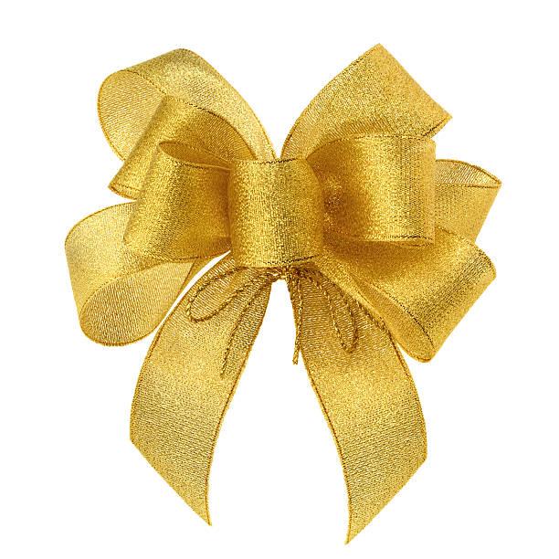 elegante goldene schleife auf weißen - geschenkschleife stock-fotos und bilder