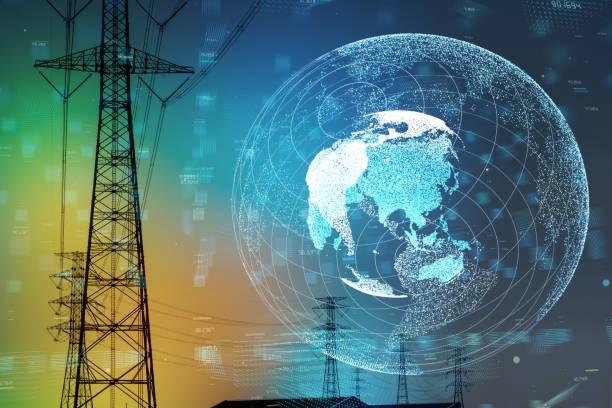 smart grid and global network concept. - rete elettrica foto e immagini stock